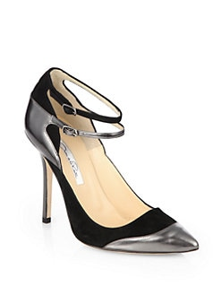 Oscar de la Renta - Sisi Suede & Patent Leather Ankle Strap Pumps