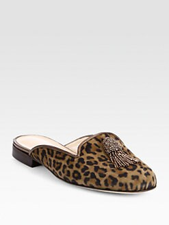 Oscar de la Renta - Cici Beaded Leopard-Print Suede Slides
