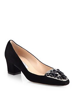 Oscar de la Renta - Riley Jeweled Suede Loafer Pumps