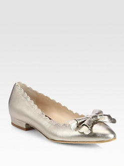 Oscar de la Renta - Scalloped Metallic Leather Ballet Flats