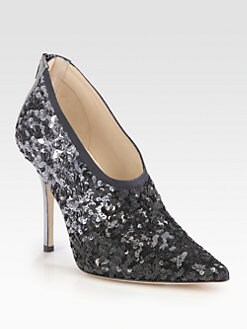 Oscar de la Renta - Sequin-Covered Satin Ankle Boots