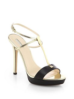 Giorgio Armani - Leather & Metallic Leather T-Strap Sandals
