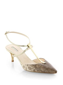 Giorgio Armani - Animal-Print Metallic Leather T-Strap Pumps