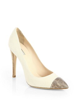 Giorgio Armani - Canvas Embossed Cap-Toe Pumps