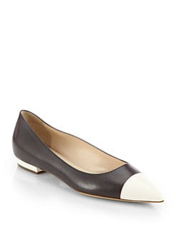 Giorgio Armani - Leather Cap-Toe Ballet Flats