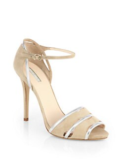 Giorgio Armani - Metallic Leather-Trimmed Suede Sandals