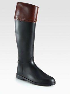 Burberry - Hillmore Leather-Trimmed Rain Boots