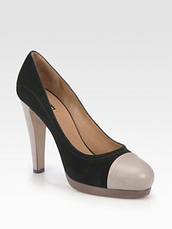 Giorgio Armani - Suede and Leather Bicolor Platform Pumps