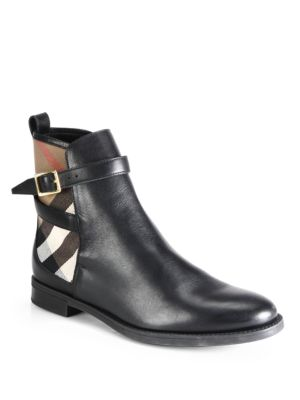Richardson Leather & Check Canvas Ankle Boots