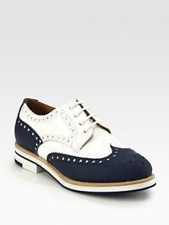 Giorgio Armani - Leather & Patent Wingtip Brogue Lace-Up