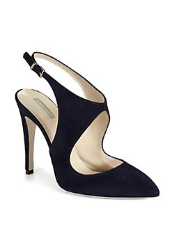 Giorgio Armani - Suede Cutout Slingback Pumps