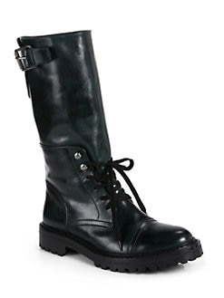 Belstaff - Barrow Leather Lace-Up Mid-Calf Boots