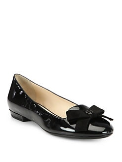Giorgio Armani - Patent Leather & Suede Bow Smoking Slippers