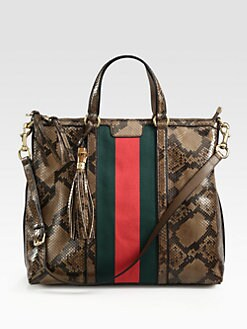 Gucci - Rania Python Top Handle Bag