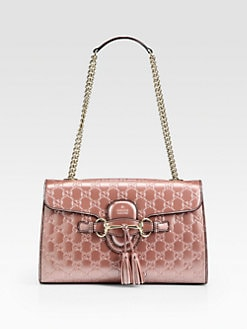 Gucci - Emily Light Pink Shiny Microguccissima Shoulder Bag