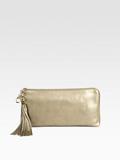 Gucci - Broadway Metallic Champagne Leather Evening Clutch