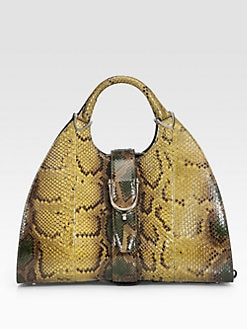 Gucci - Python Stirrup Medium Top Handle Bag
