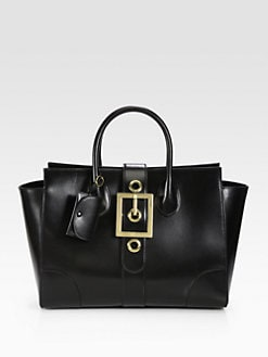 Gucci - Lady Buckle Leather Top Handle Bag