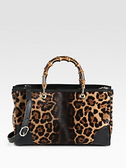 Gucci - Bamboo Shopper Jaguar Print Tote