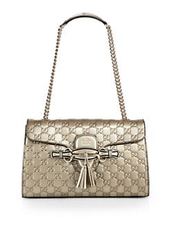 Gucci - Emily Guccissima Metallic Leather Chain Shoulder Bag