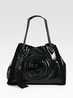 Gucci - Soho Crushed Patent Leather Shoulder Bag