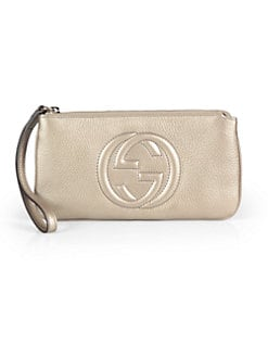 Gucci - Soho Metallic Leather Wristlet