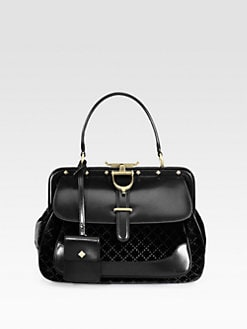 Gucci - Lady Stirrup Medium Velvet & Leather Top Handle Bag