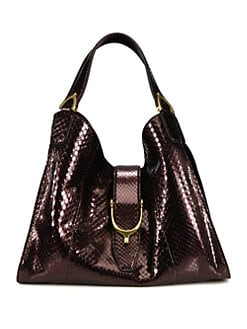 Gucci - Stirrup Medium Python Top Handle Bag