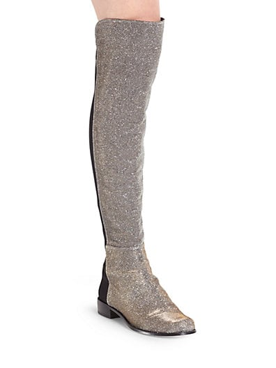 5050 Stretchy Glitter Lame Over-The-Knee Boots