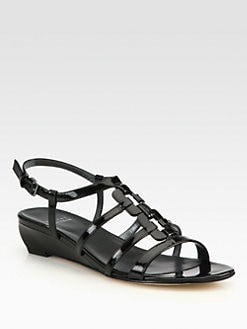 Stuart Weitzman - Nukeywest Patent Leather Wedge Sandals