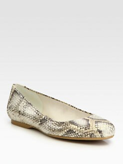 Stuart Weitzman - Bambina Metallic Snake-Print Leather Ballet Flats