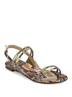 Stuart Weitzman - Rolldown Metallic Snake-Embossed Leather Sandals