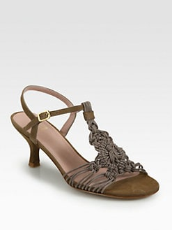 Stuart Weitzman - Teacher Woven Leather Sandals