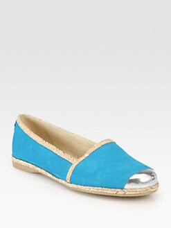 Stuart Weitzman - Tipadrille Suede & Metallic Leather Loafers