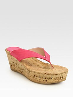 Stuart Weitzman - Clasp Suede Cork Wedge Sandals
