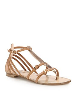 Stuart Weitzman - Entity Leather & Metallic Leather Ankle Strap Sandals