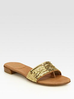 Stuart Weitzman - Mailroom Goldtone Mesh & Leather Sandals