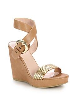 Stuart Weitzman - Romano Embellished Leather Wedge Sandals