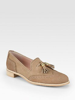 Stuart Weitzman - Guything Lizard-Print Suede Tassel Loafers