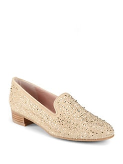 Stuart Weitzman - Slipbeads Studded Suede Smoking Slippers