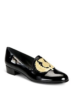 Stuart Weitzman - Hisnhers Patent Leather Smoking Slippers