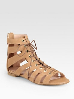 Stuart Weitzman - Pantheon Leather Lace-Up Gladiator Sandals