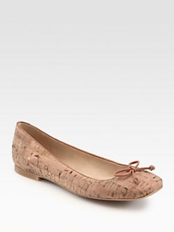 Stuart Weitzman - Stringon Leather-Trimmed Cork Ballet Flats