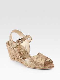 Stuart Weitzman - Halley Metallic-Print Brushed Leather Wedges