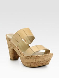 Stuart Weitzman - Nupeaceful Leather Cork Platform Sandals