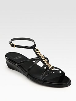 Stuart Weitzman - Tiffy Chain-Detail Patent Leather Wedge Sandals