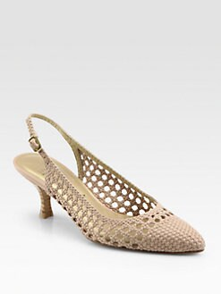 Stuart Weitzman - Numeeting Woven Leather Slingback Pumps