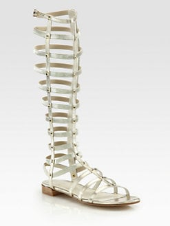 Stuart Weitzman - Tall Gladiator Metallic Leather Sandals