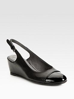 Stuart Weitzman - Tipin Leather & Patent Leather Slingback Wedge Pumps