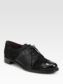 Stuart Weitzman - Suede and Patent Leather Lace-Up Oxfords